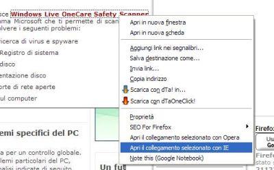 Con IEView Internet Explorer lo avvio da Firefox
