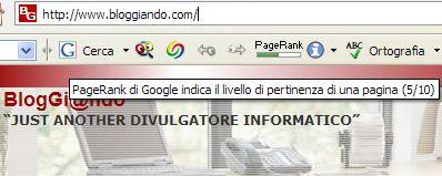 pg Google assegna PageRank 5 a Bloggiando.com