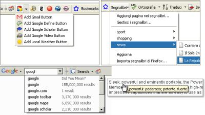 custombuttons Nuova Google Toolbar beta per Firefox