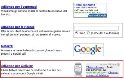 adsense-per-cellulari Google porta AdSense sui Cellulari
