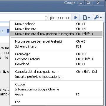 Navigare in incognito con Google Chrome Seleziona Nuova finestra di navigazione in incognito