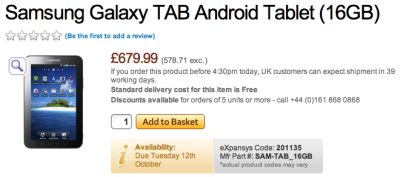 Samsung Galaxy Tab Android Price